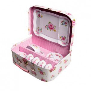 Childrens Rose Covered Tin Tea / Picnic Set and Case by Party Parade (Rose Toy Parade)