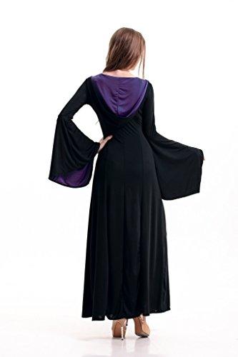 Bigood Déguisement Reine Adulte Halloween Costumes Cour Rétro Robe Longue Mascarade Violet