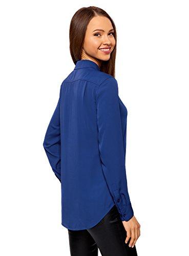 oodji Collection Damen Gerade Geschnittene Bluse mit Dekoriertem Kragen Blau (7500N)