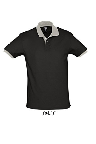 L569 Polo Prince Poloshirt Polohemd Black-Light Grey (Solid)