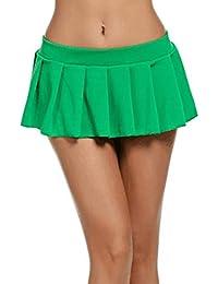 0580f72edc Caeasar Falda de Cintura Baja de una línea Baja Plisada sólida Ocasional de  Las Mujeres Faldas