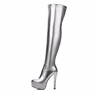 SANMULYH Scarpe Donna Pu Inverno Comfort Stivali Stiletto Heel Punta Thigh-High Scarponi Per Casual Nero Argento Argento