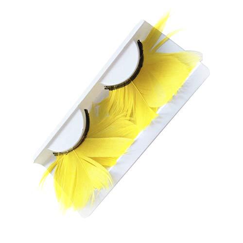 Kentop 1 Paar lang falsche Wimpern mit glänzenden Federn für Maskenbildung Leistung Prop 11 * 5.2 * 1.5cm gelb