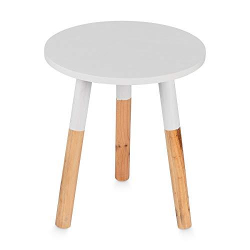 Galdem Beistelltisch Couchtisch Wohnzimmertisch Sofatisch Holz Tisch Nachttisch rund 39 x 35 x 35 cm weiß
