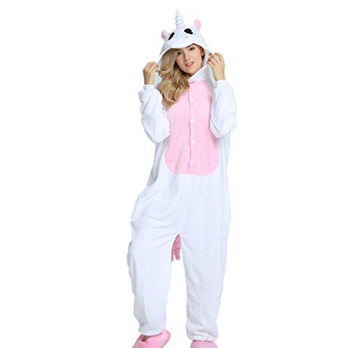 Jysport, unisex Pyjama aus Fleece mit Einhorn-Motiv und Kapuze für Kinder, Damen und Herren Medium elefant