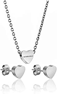 Victoria Walls Stainless Steel Necklace & Earrings Set - 3 Pieces, VS1056S (Sil