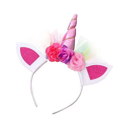 BESTOYARD 3 Stück Einhorn Haarreif Horn Stirnbänder Haarband mit Blumen und Ohren Kopfschmuck für Mädchen Kinder Halloween Cosplay Kostüm Party Dekoration (Rosa) (Kostüm Golf Mädchen Halloween)
