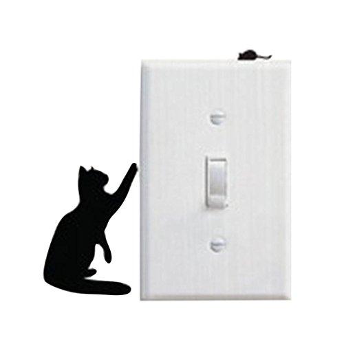 Clode® PVC Katze Schalter Aufkleber, Schlafzimmer Cartoon Dekorieren;Raum Fenster Wand Dekorieren Switch Sticker (C)