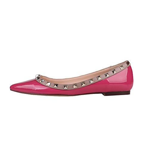 EKS Damen Spitz Flat Heels Spikes Ballerinas Schuhe Wohnungen Rose Red-Patent 43 EU (Red Leder-ballerina-flache Patent Schuhe)