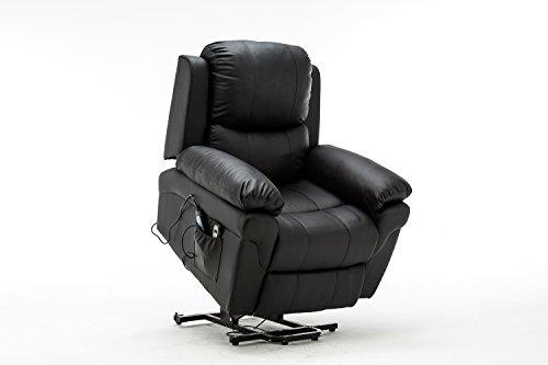 MCombo Elektrisch Aufstehhilfe Fernsehsessel Relaxsessel Massage Heizung Kippbar schwarz CE/SGS zertifiziert