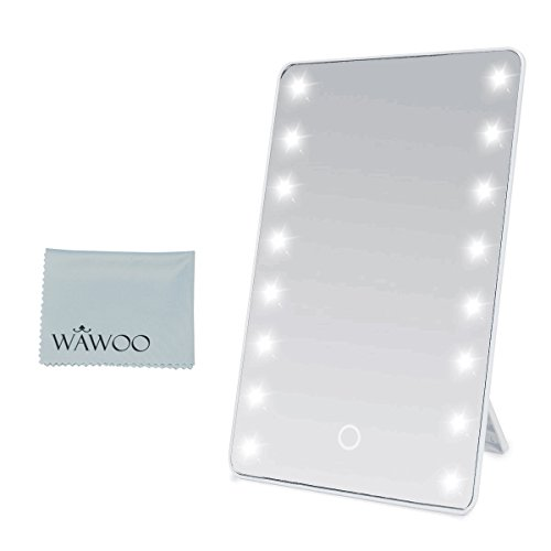 Wawoo® Make-up-Spiegel mit LED Beleuchtung Dimmbar durch Touch-Schalter + 16 LEDs + Ultra-High Definition Falterbar Standspiegel Profi Kosmetikspiegel Schminkspiegel Tischspiegel Batteriebetrieben (weiß) Test