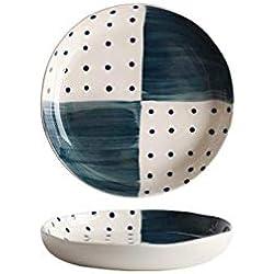ZN-tableware Vajilla de cerámica/Azul Estilo japonés Plato de Lunares/Taza de Leche/Hogar Plato de Comida Plato de Pescado Plato de Ensalada Plato de Salsa