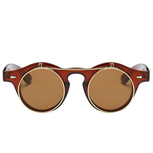 Junecat Unisex Offnet Dampf-Punk-Sonnenbrille Öffnen Objektive Sonnenbrillen UV 400 Schutz Weiblich Männlich Brillen