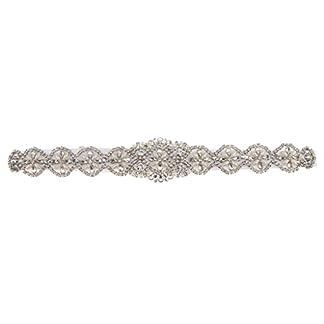 Sharplace Antiguo Cinturón de Lazo con Perlas Flor Artificial Vestido de Novia Decoración de Casamiento – Blanco, 41 x 5 cm