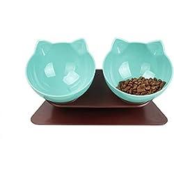 DamnCat Cuenco doble para comida con soporte elevado para mascotas, ideal para gatos y perros pequeños