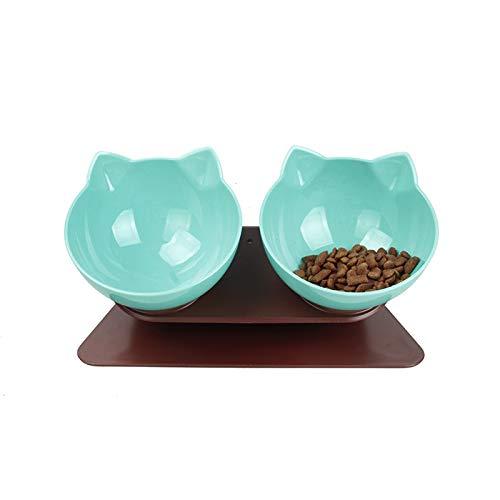 DamnCat Double bol de nourriture pour animal domestique avec support surélevé pour chats et chiens de petite taille