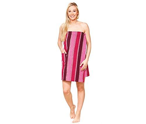 Saunakilt für Frauen, 100% Baumwolle mit Klettverschluss, 350 g/ m², Größe L (Rosa)