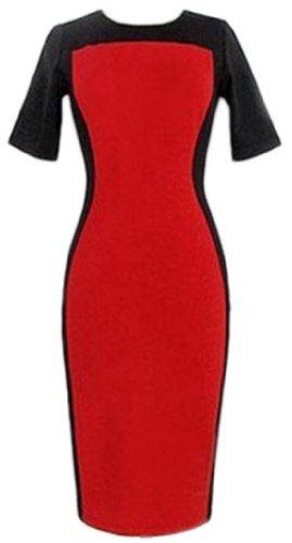 Damen Spleiss-Farbe Rundhals kurzaermelig Etuikleid Rot