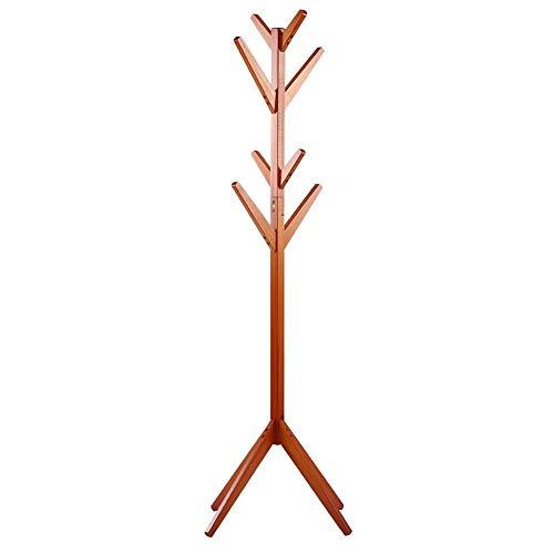 EBTOOLS Garderobenständer Jackenständer Kleiderständer Garderobe Holz Flurgarderobe Standgarderobe mit 8 Haken für Garderobe Flur Foyer Büro, zerlegbar, 164.5cm(orange rot)