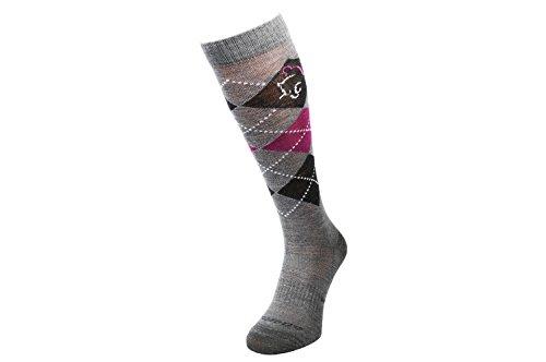 COMODO REITSOCKEN MERINO 40% Merinowolle | Reitstrümpfe | Kniestrümpfe | Socken | Karomuster | Perfect Fit | Antibakteriell | Geruchshemmend | Feuchtigkeitsregulierend, Farbe:Wool - Grey / D.Gray / Pink;Größen:39-42