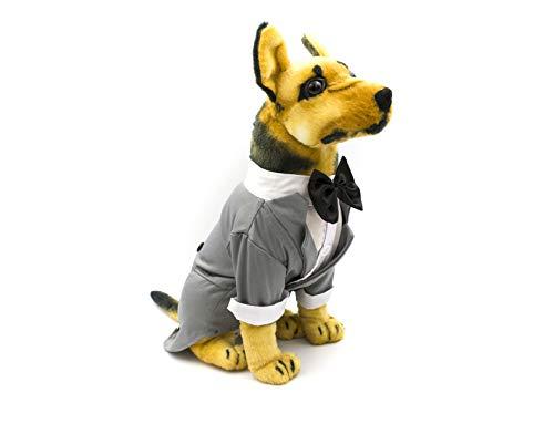 AXEL PETS My Ring Bearer Doggy Hochzeit Smoking Kleidung für Hunde Bräutigam Kleidung mit Fliege Gentleman Suit Party Kostüm, X Small, grau (Bräutigam Kostüm Für Hunde)