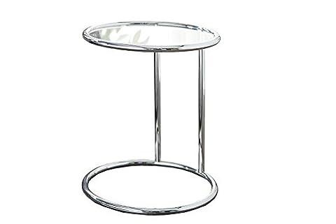 CRAVOG Beistelltisch Original Glas Metall Rund Couchtisch Glastisch Design Möbel Art Deco-Stil