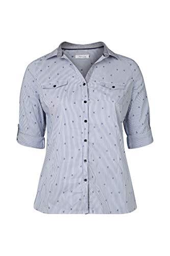 PAPRIKA Damen große Größen Bluse mit Streifen-Palmen-Print Marine 5 (52)