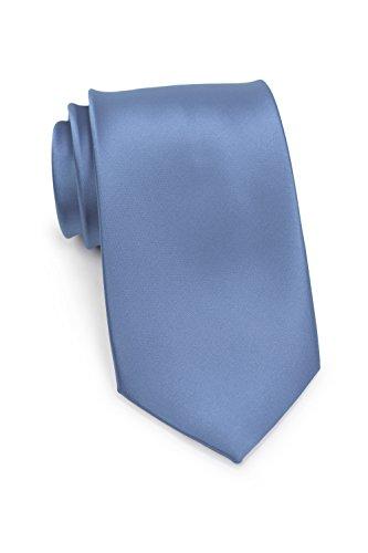PUCCINI Schmale Krawatte, einfarbig, verschiedene Farben, Mikrofaser, Satinglanz, Handarbeit, 6 cm Slim Tie, Büro - Hochzeit - Alltag (Taubenblau) -