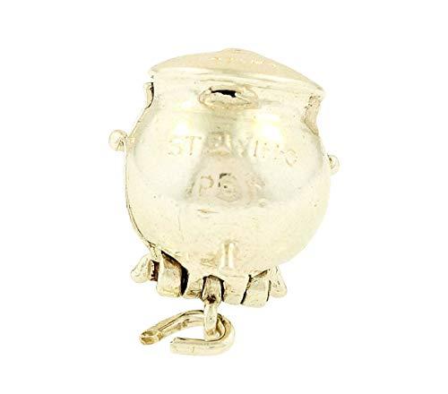 Breloque en forme de casserole en argent sterling avec personne à l'intérieur (12 x 12 mm)