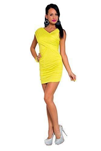 Futuro Fashion Femmes Mini Robe Sans Manches Col V Moulant Unique Taille 8-12 UK 8117 Jaune