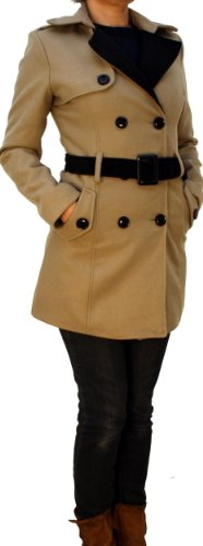 Damen Billig Mäntel Winter (8339 PERANO Damen Winter Mantel Dufflecoat Wollmantel Farbe Beige Konfektionsgröße 42 Internationale Größe XL.)