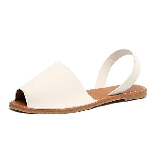 Sandalen Damen Sommer Sandaletten Flachen Frauen Knöchelriemchen Espadrille Plateau Flip Flop Sommersandalen Bequeme Elegante Schuhe Schwarz Weiß Rosa Gr.34-44 WH40 -