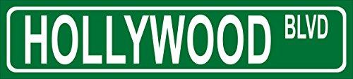 Schild - Hollywood Blvd - American Street Sign Amerikanisches Straßenschild - 52x11cm - Bohrlöcher Aufkleber Hartschaum Aluverbund -S00346-001-A