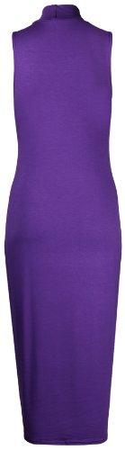 Purple Hanger - Robe Moulante Mi-Longue en Jersey Col Roulé sans Manches pour Femmes - Neuf Violet