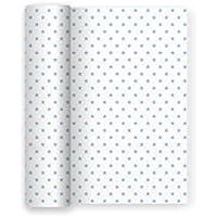 Mantel de papel para fiesta blanco con decorado de Estrellas Azul Baby - 1,2 x 5 m (Azul)