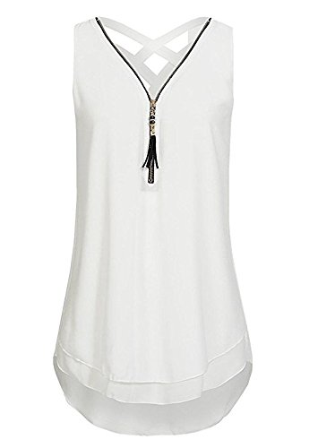 Yidarton Womens Sleeveless Tops V Neck Zip Front Chiffon Shirt Backless Tank Tops T Shirt