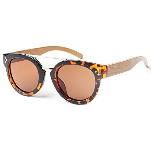 GSSTYJ Bambus und Holz Brille Sonnenbrille polarisierende Sonnenbrille mit handgefertigten Bambus und Holz Brille Beine Geschenke für Freunde und Verwandte (Farbe : Tortoise Frame+Brown Film)