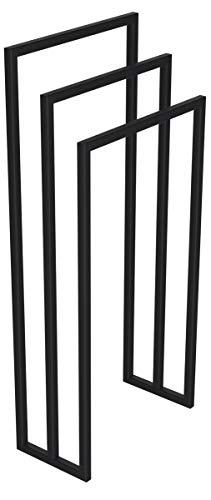 HOLZBRINK Metall Handtuchhalter für Badezimmer Kleiderständer Freistehender Handtuchständer mit 3 Stangen, Tiefschwarz, 90x40x20 cm (HxBxT), HLMH-01B-90-40-9005 -