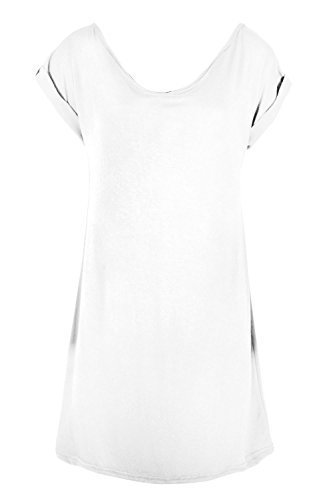 Oops Outlet Damen Schulterfrei Bardot Minikleid Damen Baggy Übergröße Jersey Schlafanzug PJ Hemd Weiß