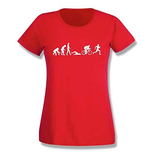 T-Shirt Evolution Triathlon Ironman Hawaii Roth Laufen Evo Schwimmen Radfahren Run Swim Cycle Olympia Vichy Marathon 15 Farben Damen XS-3XL, Größe:M, Farbe:- k: rot - Logo Weiss