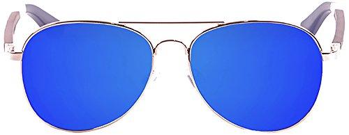 Ocean paloalto Sunglasses San Diego Sonnenbrille Unisex Erwachsene, Shiny Gold Metal/Wood/Blue