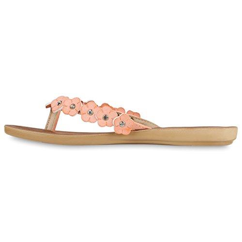 Schuhe Flats Cabanas Lack Beach Apricot Zehentrenner Sandalen Damen nUBOI8Bw