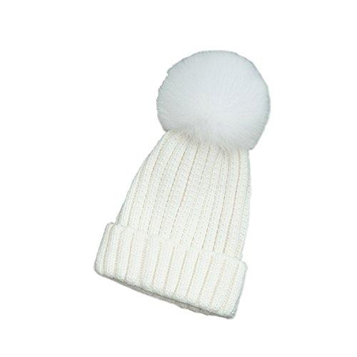 Rojeam acogedor y desmontable de piel falsa Pompón punto Hat Beanie sombrero del invierno y bufanda de las mujeres de esquí sombrero al aire libre de los deportes de Sombrero