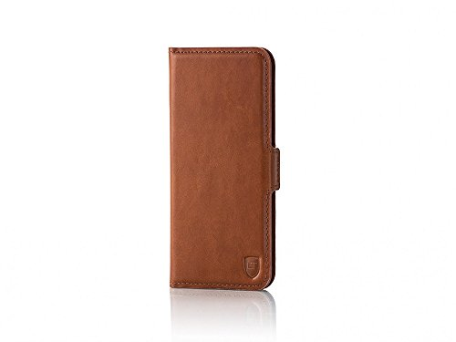 UTECTION cover iPhone 6 Plus / 6s Plus vera pelle book-style leather case rigida Wallet - Custodia in vera vacchetta iPhone 6s Plus (5,5  pollici) libro porta carte di credito e banconote| Nero Cognac