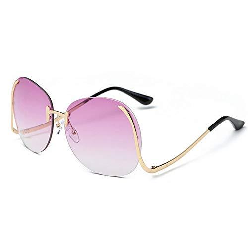 WDDYYBF Sonnenbrillen Übergroße Sonnenbrille Frauen Vintage Rahmenlose Geschwungene Beine Metallrahmen Sonnenbrille Sommer Uv 400 Sonnenbrille Brillen -