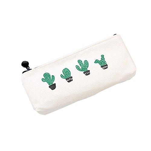 QHGstore Bleistift Taschen Netter Kaktus-Segeltuch-Reißverschluss langer beweglicher Speicher-Feder-Beutel-Beutel für Mädchen-Kursteilnehmer #2 (Fashion Neue Beliebte)