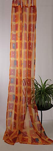 Fenster Dekoration Schlaufenschal Vorhang Gardine Store Halbtransparent Modernes Design ca. 140 x 245 cm Orange