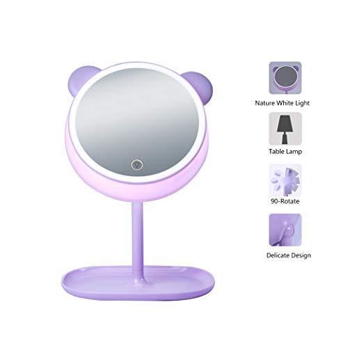 Sfesnid 4 in 1 specchio per il trucco & lampada da scrivania & luce notturna & lampada d'atmosfera, ricaricabile usb specchio cosmetico con luci con touchscreen a forma di orso con base di stoccaggio