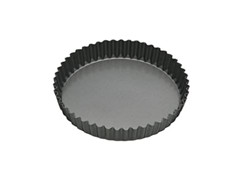 KitchenCraft MasterClass Non-Stick Fluted Flan Tin/Quiche Pan with Loose Base, Grey, 18 cm