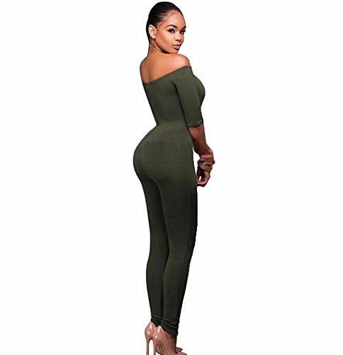 Byjia Damen Overall Slinky Hohe Taille Ausgesetzt Schulter Langarm Club Night Party Hose . Green . (Jugend Kostüm Green Man)